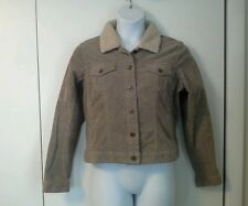 Womens Ladies XL Corduroy Jacket Coat Solid Tan Lined  Faux Fur Collar Sonoma