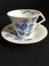 Art Deco Colclough Cup and Saucer Blue Floral Pattern No 4212