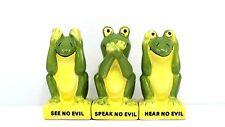 Salt Pepper Shaker Frog See Hear Speak No Evil Magnetic Toothpick Holder