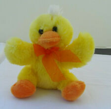 "7"" Dan Dee Easter Spring Yellow Duck Duckling Chick Plush Orange Bow"