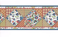 Country Patchwork Fabric Quilt Floral Jacobean Blue Trim Wallpaper Border 25301B