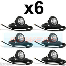 6x 12V / 24V ANTERIORE BIANCO / chiaro SMALL ROUND LED pulsante Marcatore Lampada / Luci Universale