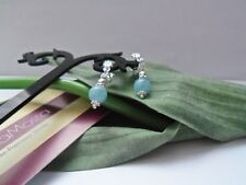 925 Solid Sterling Silver Earrings,Semi-Precious Aquamarine, Christmas, New