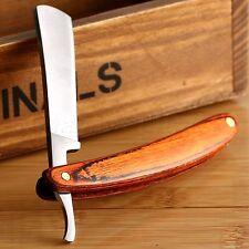 Men Straight Edge Wood Handle Steel Barber Razor Folding Shaving Knife Razor Kit