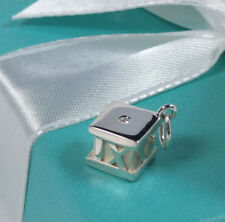 Tiffany & Co Diamond Atlas Cube Pendant Charm Roman Numerals Numbers Silver 925