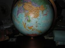 VINTAGE GLOBEMASTER 12 INCH RAISED RELIEF LEGEND GLOBE WITH METAL BASE MADE USA