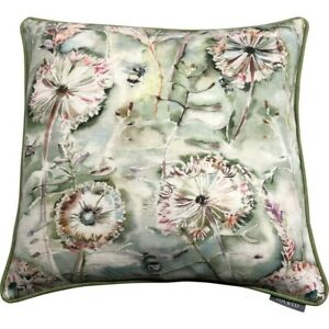 """Voyage 22"""" Piped Cushion Cover   Langdale Sweetpea   Bumble Bee Watercolour"""