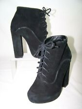 Shellys London Potak Black Suede Lace Up High Heel Boots Size 6 Chunky Heels