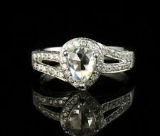 DYACH SIGNED PEAR NATURAL 1.43ctw DIAMOND HALO 18K WHITE GOLD ENGAGEMENT RING