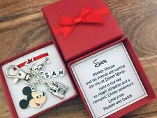DISNEY REVEAL, keyring, charm, MINNIE / MICKEY MOUSE, PERSONALISED gift, box