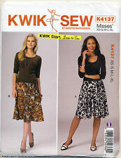 KWIK SEW SEWING PATTERN 4137 MISSES SZ 8-22 EASY PULL-ON A-LINE FLARED SKIRTS