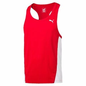 Puma Mens Sports Running Singlet Tank Vest Sleeveless Top Racer Back Jogging