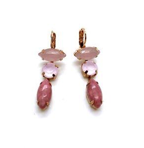 Mariana Earrings Glamorous Rhodochrosite Mineral & Rose Water Opal Austrian C...