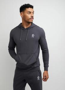 Gym King Mens Dark Grey Hooded Designer Lounge Lightweight Jersey Hoodie Hood