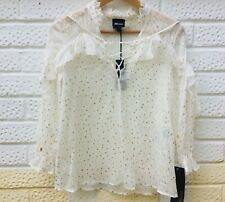 JUST CAVALLI Frilly Silk Top 4 - 6UK / 36IT Strap V Neck White Gold Spots NEW