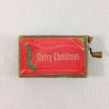 Vintage Christmas Music Box Cardboard With Crank Handle Plays Jingle Bells