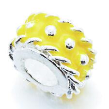 5Pcs Silver Charm Yellow Enamel Spacer Stopper Beads Lot Fit European Bracelet