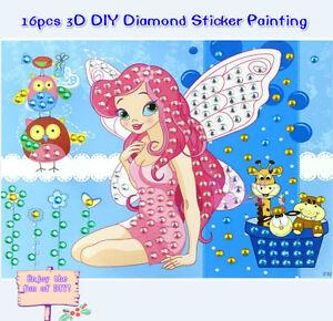 16pcs Large Creative 3D DIY Bling Diamond Stickers Kids Crafts Set Educational