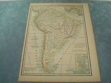 RARE 1888 ANTIQUE MAP OF SOUTH AMERICA