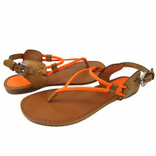 Coach Womens Coco Orange Slip On Open Toe Buckle Ankle Strap Flat Sandals Shoes