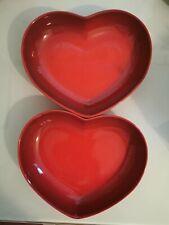 2x Le Creuset Stoneware 21cm Medium Heart Dishes  In Cerise  BNWT