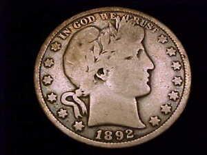 1892-O  Barber Half Dollar, Very Good Grade. A scarce New Orleans date.