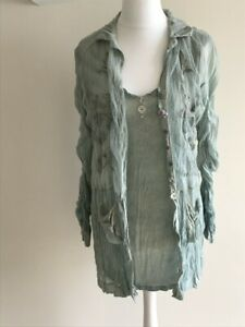 Elisa Cavaletti Sage Green Embellished 2 piece top / shirt set - XXL - UK 16 /18