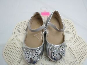 NEW BABY GIRL GLITTER BUTTERFLY BALLET FLATS SILVER SPARKLE SIZE 7