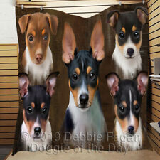 Personalized Rustic Rat Terrier Dogs Bedding Pet Lovers Quilt Gift