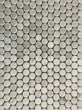 Carrara White Marble 19mm Penny Round Mosaic Floor / Wall Tiles $235.00 m2