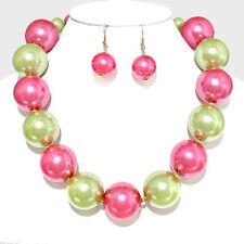 Declaración caprichoso Oro Rosa Verde Grande Perlas Collar conjunto por rocas Boutique