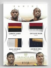 2012-13 Immaculate LeBron James Dwyane Wade Paul George Hill Quad Patch #7/10