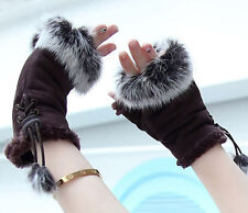 New Rabbit Fur Fingerless Texting Gloves Coffee Color (Brown)