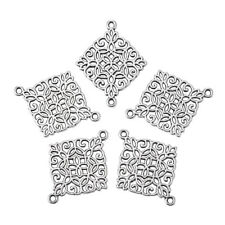 50x Nickel Free  Lead Free Tibetan Antique Silver Alloy Rhombus Links 28x22x1mm