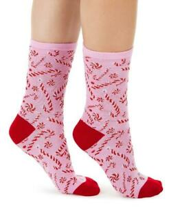 Charter Club Women's Pink Candy Cane Crew Socks Holiday 1 Pair Size 9-11