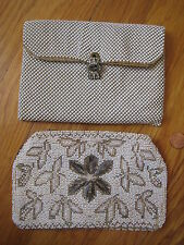 vtg 2 PURSE LOT Whiting and Davis white mesh handbag clasp beaded clutch flapper