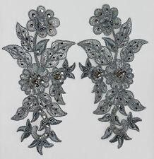 Handmade Venise Lace Sequins Applique Trim Motif  M Grey  #13