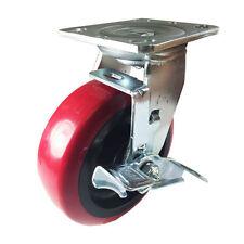 "6"" x 2"" Heavy Duty ""Polyurethane Wheel"" Caster - Swivel with Brake"