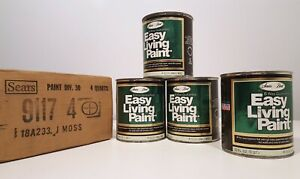 SEARS EASY LIVING PAINT VINTAGE 1973 JUNGLE MOSS GREEN FOUR 1qt CANS NEW NOS