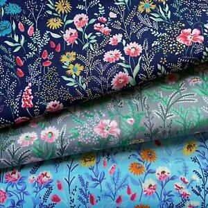 LIBBY  Floral  100% Cotton fabric, Sewing, Craft, CREAM