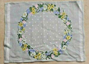 Vintage Swedish grey linen floral printed tablecloth/mat