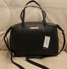 Wt Nine West Black Leather Snake Satchel Tote Bag Purse Feeling Slouchy