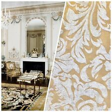 Swatch- Designer Velvet Chenille Burnout Fabric - Cream Beige- Upholstery
