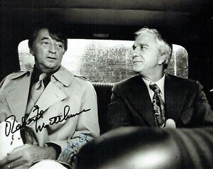 Robert Mitchum & Leslie Nielsen Dual Signed 8x10 Film Photo AFTAL/UACC RD