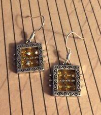 Brighton Light Amber BEDAZZLED Beadazzled Garnet Sparkle Earrings Dangle Beads