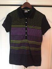 Womens Puma Dry Cell Black/Purple/Neon Stripe Golf/Polo Shirt -Size Small-S -EUC