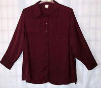 Covington Woman 20- 22 W Silky Feel Roll Up Sleeves Blouse Shirt