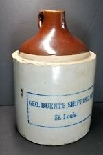 Antique Pre-Prohibition GEO. BUENTE SHIPPING CO St. Louis Stoneware Whisky Jug