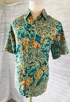 The Territory Ahead Hawaiian Shirt Size XL Green Tropical Cotton