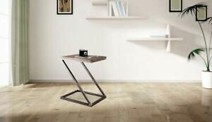 WOODEN & IRON Z SHAPE BEDSIDE NIGHT STAND TABLE FOR BEDROOM - GREY
